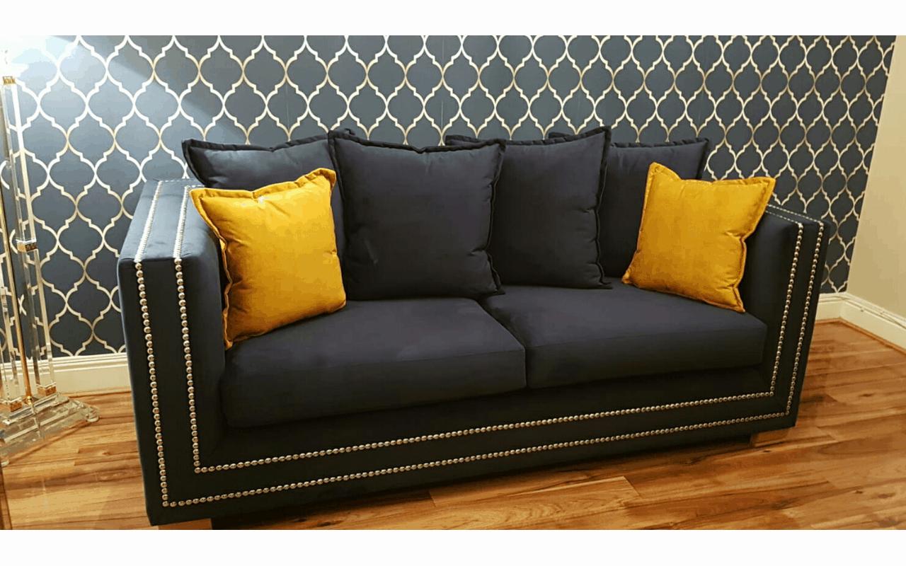 navy velvet two seater sofa