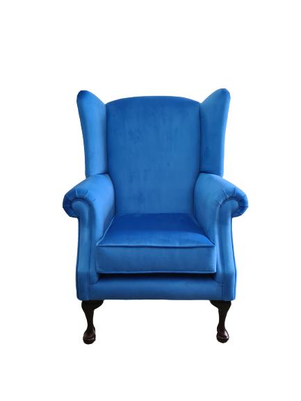 imperial blue velvet queen anne chair