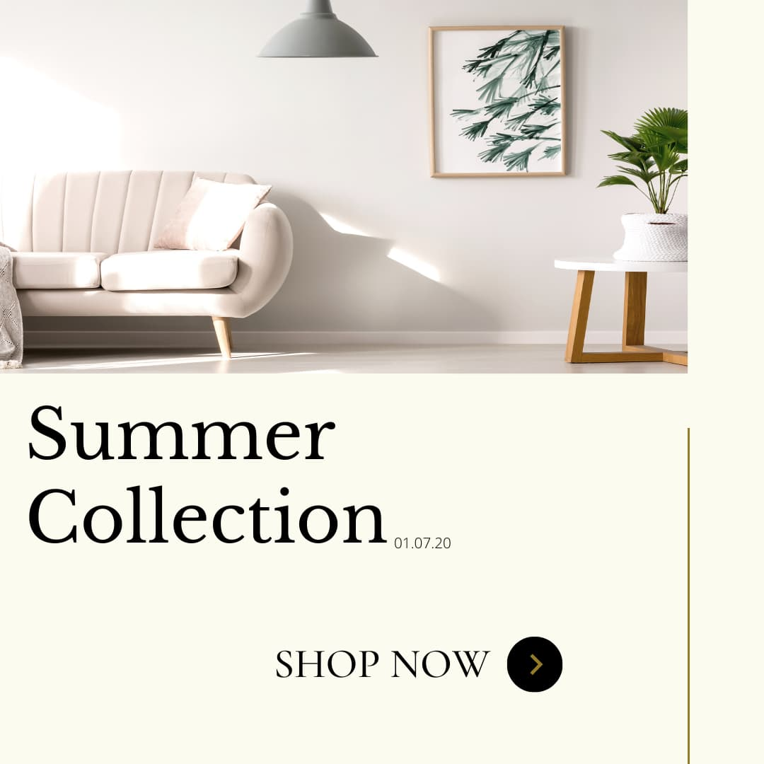 Sofa photo with a call to action to enter our Online Furniture Store shop now for the summer collection