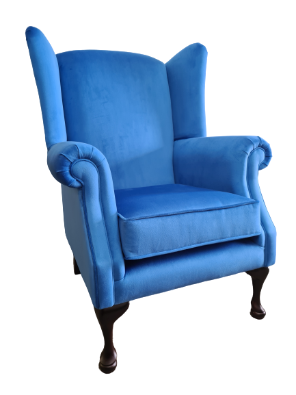 Imperial Blue Queen Anne Chair - Angle View