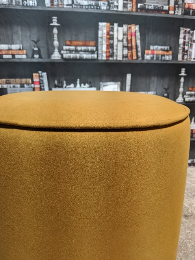 Mustard Pouffe Close View