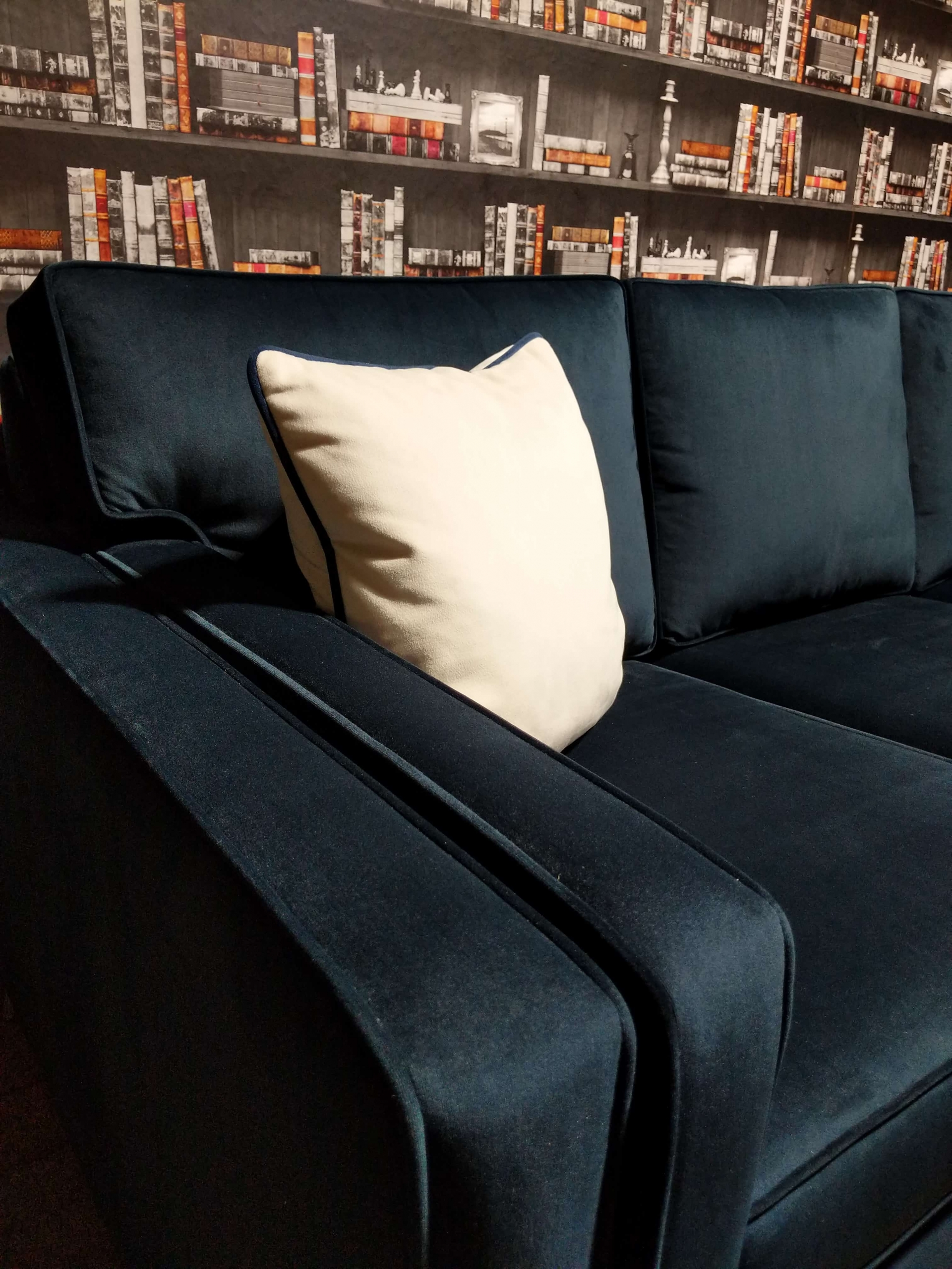 Ontario Sofa Navy Side Arm View
